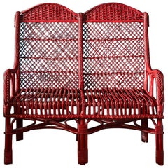 Handwoven Two-Seat Wicker Chair in Balmoral Red