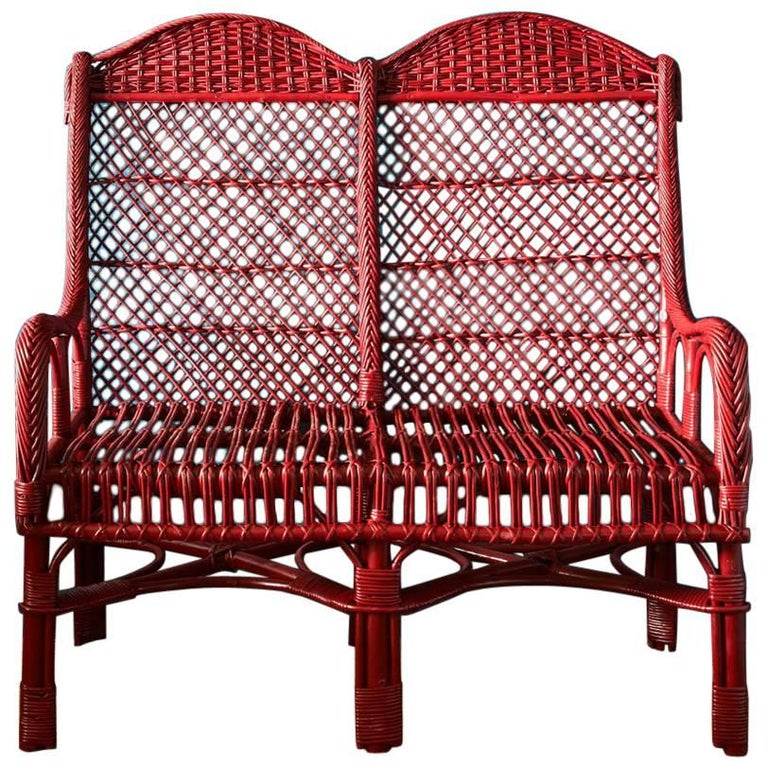 Handwoven Two-Seat Wicker Chair in Balmoral Red 1