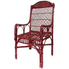 Handwoven Wicker Armchair in Balmoral Red