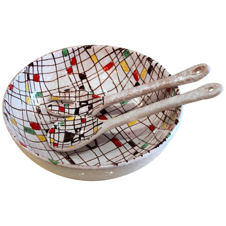 Italian Pottery Serving Set Salad Bowl MCM Raymor Mondrian Modern Art Bitossi FF For Sale