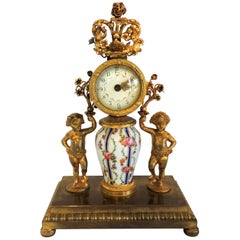 French Hand-Painted Porcelain Ormolu Dore Bronze-Mounted Cherub Putti Clock