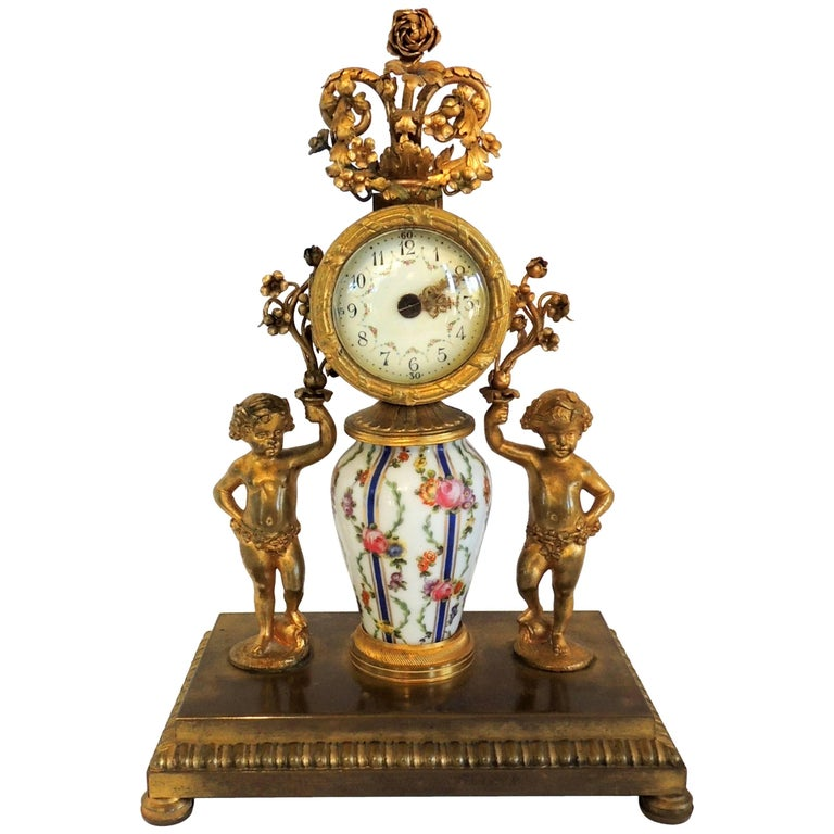 French Hand-Painted Porcelain Ormolu Dore Bronze-Mounted Cherub Putti Clock