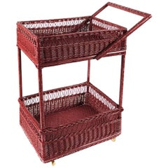 Handwoven Wicker Bar Cart in Balmoral Red