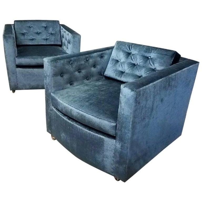 Pair of Mid-Century Modern Blue Velvet Club Chairs