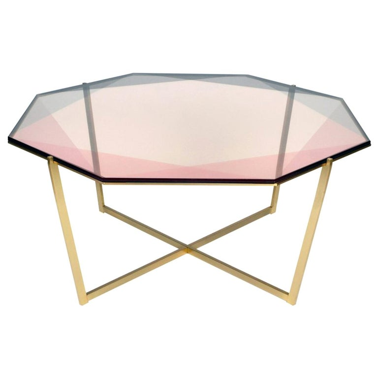 Gem Octagonal Coffee Table / Blush, Brass For Sale