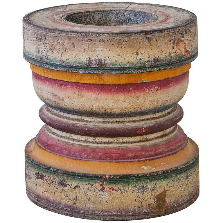 Vintage Rajasthani Polychrome Spice Mortar 1