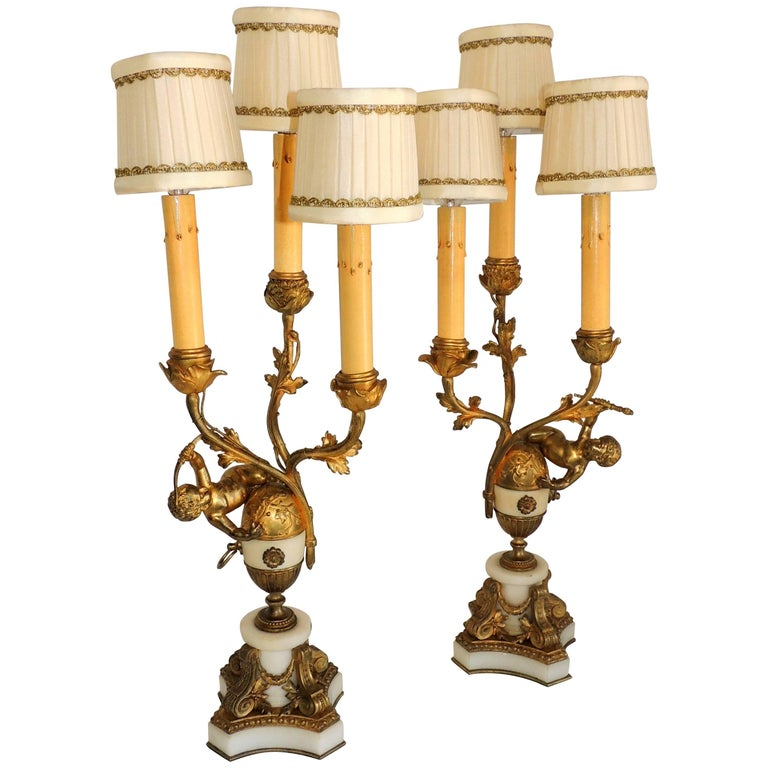 Beautiful French Dore Bronze Marble Cherub Ormolu-Mounted Candelabra Lamps, Pair