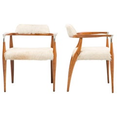 Set of Mid-Century Modern Chairs Newly Reupholstered in Brazilian Cowhide