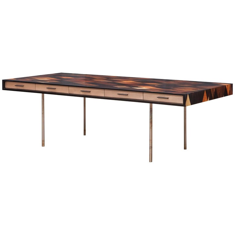 Contemporary Brown Wood and Rosewood Desk by Johannes Hock 'C' For Sale
