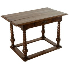 17th Century Louis XIII Period Oak Table with Spooled Legs and Single Drawer