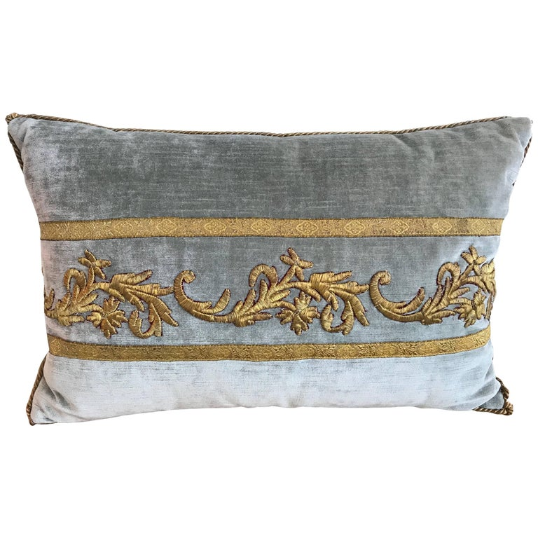 Antique Ottoman Gold Embroidered Pillow For Sale