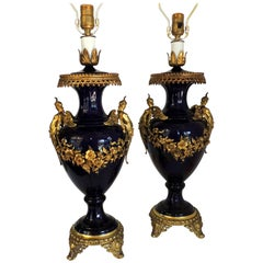 Wonderful Pair of French Bronze Ormolu Sevres Cobalt Blue Porcelain Urn Lamps