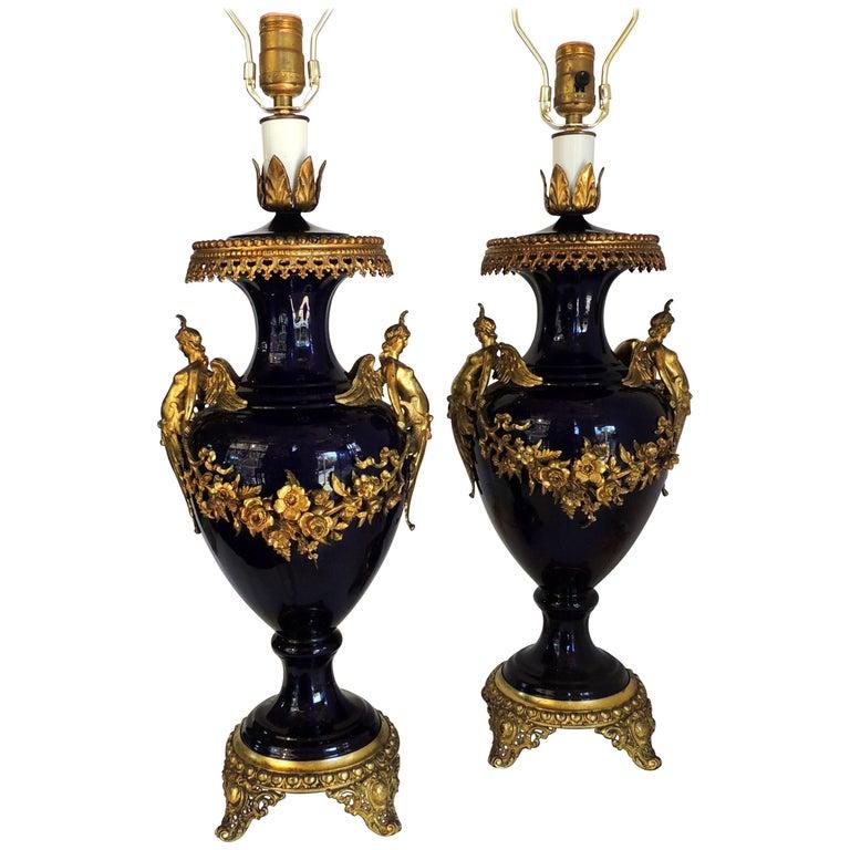 Wonderful Pair of French Bronze Ormolu Sevres Cobalt Blue Porcelain Urn Lamps