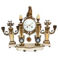 French Ormolu Bronze Cherub Marble Plaque Clock Candelabra Three-Piece Set