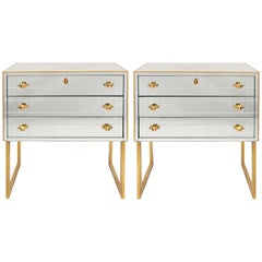 Pair of Italian 1970s Mirrored Chest of Drawers or Nightstands