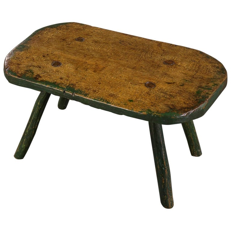 Early 19th Century Beech And Green Painted Primitive Large