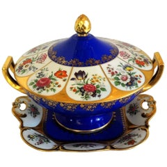 Wonderful German Hand-Painted Porcelain Hutschenreuther Three-Piece Tureen Set