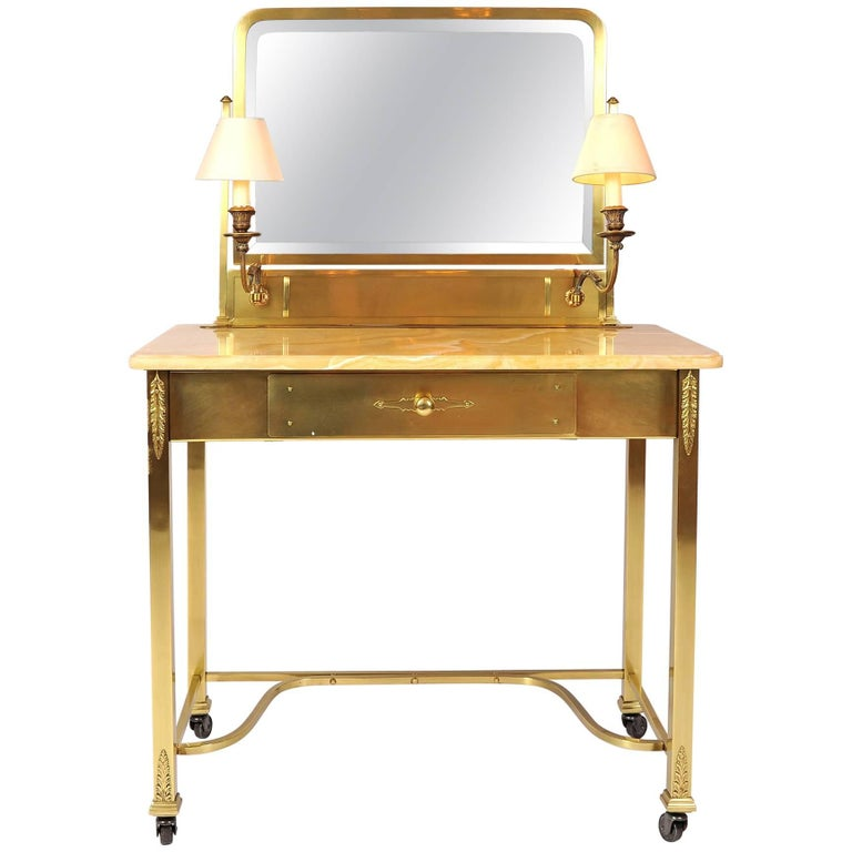 1950s Italian Marble and Brass Dressing Table or Vanity For Sale