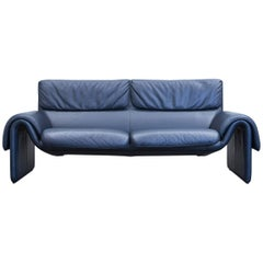 De Sede DS 2011 Designer Sofa Leather Dark Blue Two-Seat Couch Modern