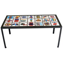 Colorful Rectangular Hand-Painted Ceramic Steel Dining Table