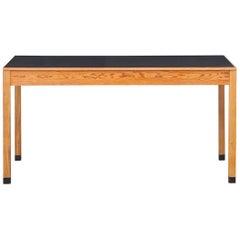 1960s Light Wood and Black Linoleum Table by Ferdinand Kramer 'h'