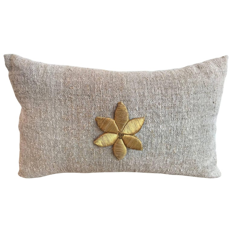 Antique Gold Decorative Pillows : Antique Gold Flower Applique Pillow For Sale at 1stdibs