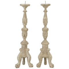 French or Italian Inspired Faux Painted Reproduction Candle Holders