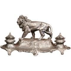 Großes Französisches Zinn Tintenfass mit Löwe, Skulptur, Signiert von A. Bossu, 19. Jahrhundert