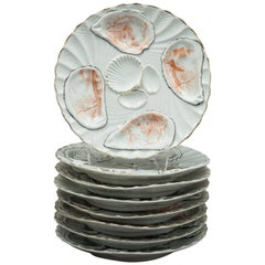 Set of Eight Limoges Oyster Plates, circa 1900