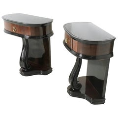 Pair of Lacquered Wood Nightstands with Glass Top, 1950s