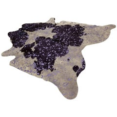 New Purple, Gray and Metallic Burnout Lilac Cowhide Rug