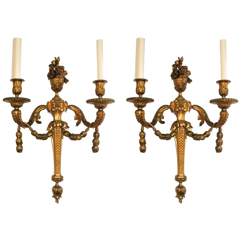 Wonderful French Pair Two-Arm Gilt Dore Bronze Urn Floral Garland Swag Sconces
