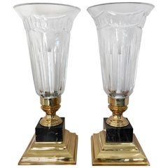 Pair of Waterford Crystal Electric Hurricane Lamps Pompeii Marble Base