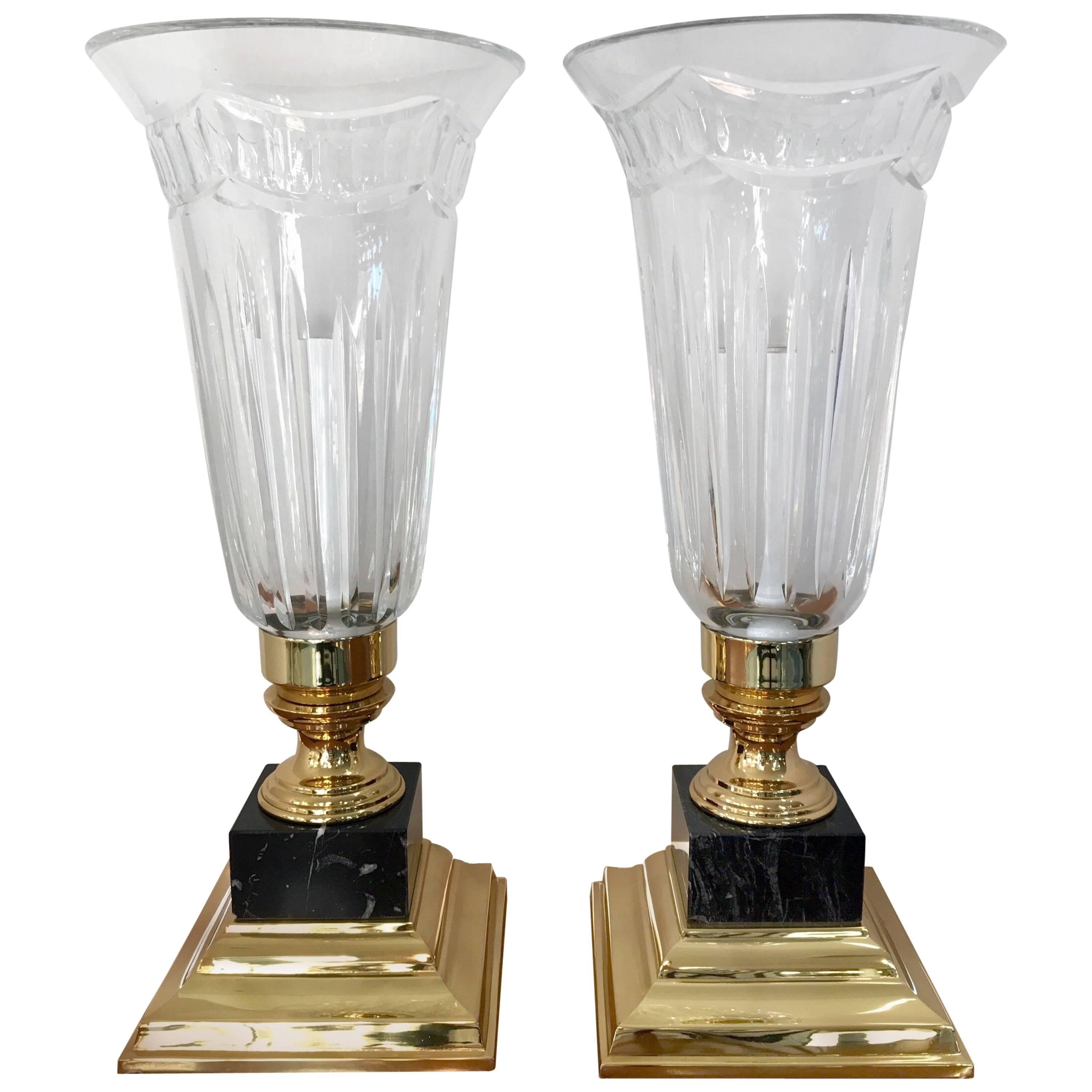 Pair Of Waterford Crystal Electric Hurricane Lamps Pompeii Marble Base For  Sale