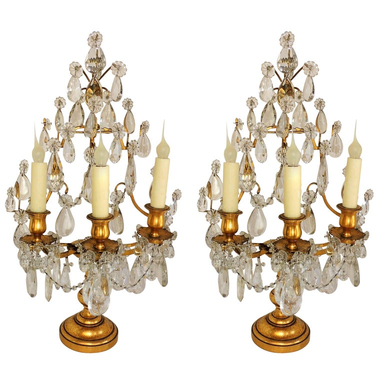 Pair of French Doré Bronze Crystal Girandoles Candelabras Three-Light Lamps