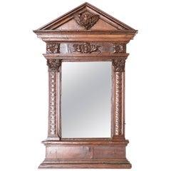 18th Century Italian Wooden Mirror with Cherub Detail