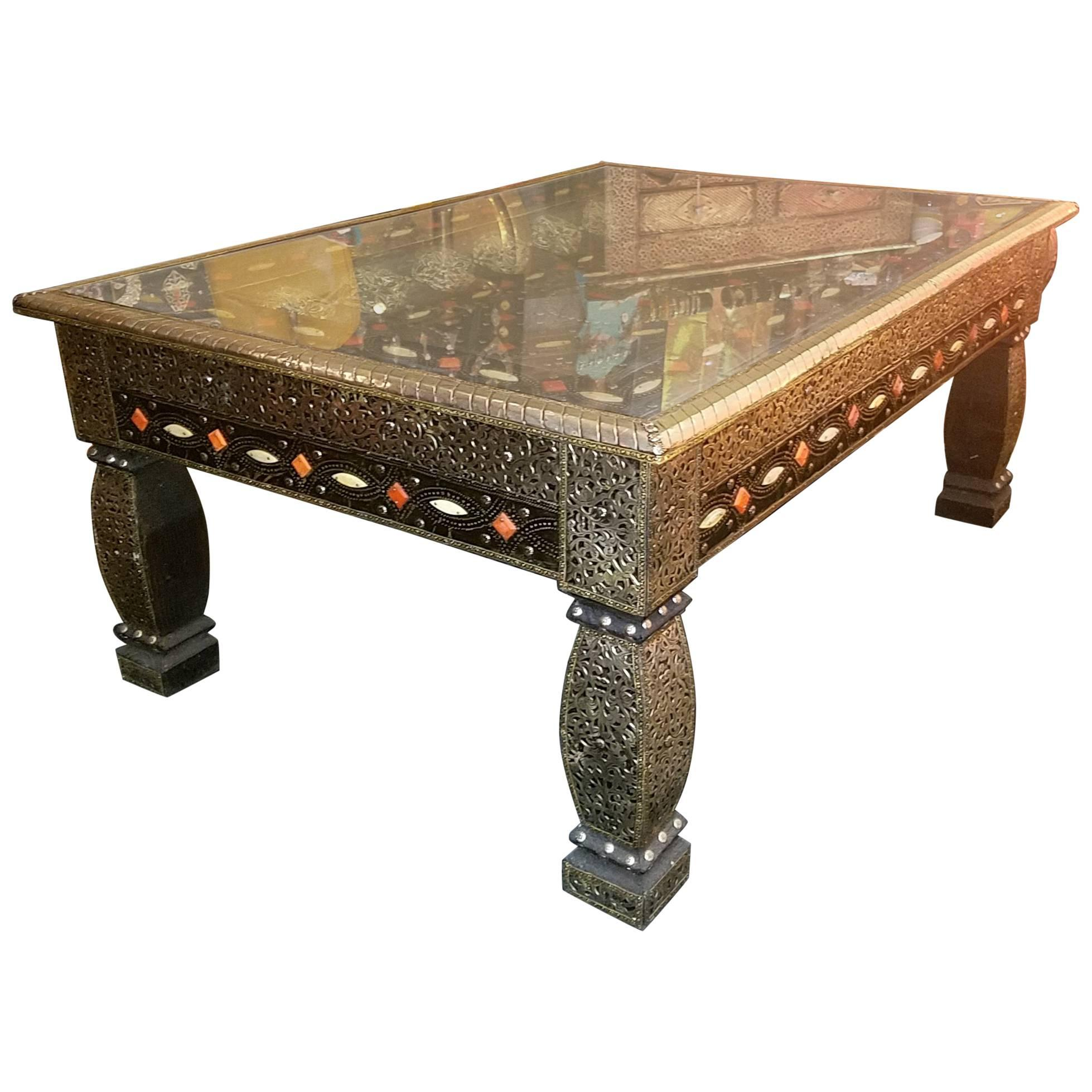398a13f4176a2 Moroccan Metal Inlaid Coffee Table, Camel Bone Added For Sale at 1stdibs