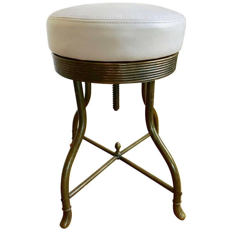 French Brass Vanity Work Stool With Leather Seat At 1stdibs