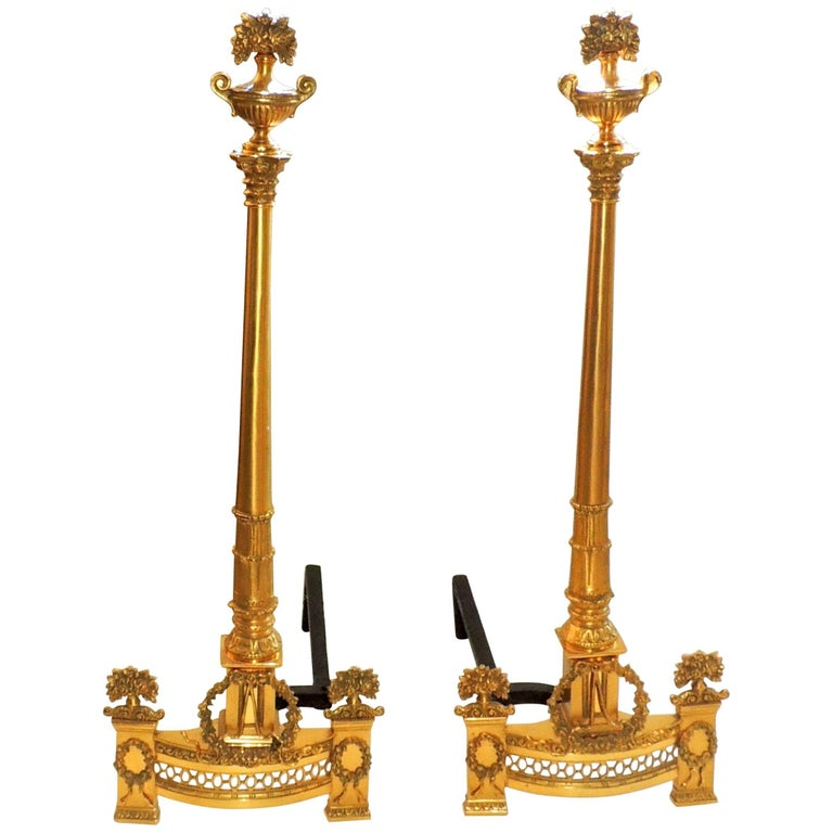 Pair of French Empire Neoclassical Doré Bronze Fireplace Wreath Andirons