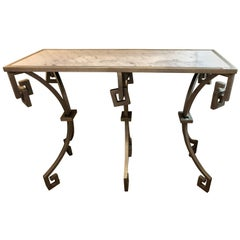 Jonathan Charles Marble-Top Designer Metal Design Console Table