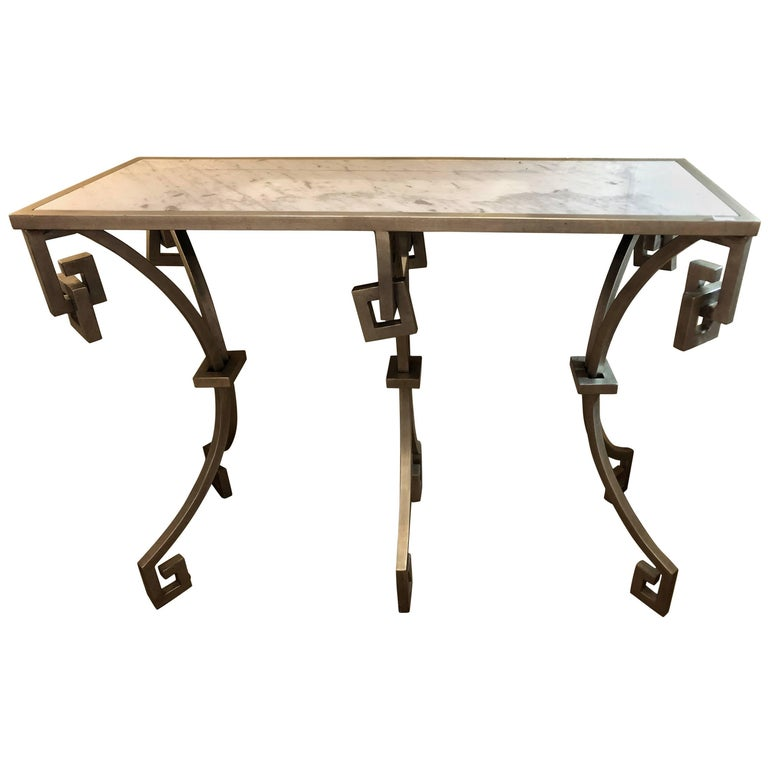 Jonathan Charles Marble-Top Designer Metal Design Console Table ...