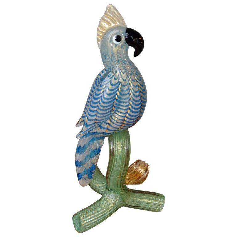 Murano Parrot Blue Green Art Glass Figurine, Barovier e Toso Attributed, Italian