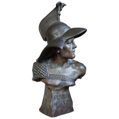 Stunning Antique Terracotta Roman Gladiator Bust Sculpture w Eagle Baring Helmet