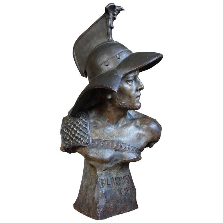 Stunning Antique Terracotta Roman Gladiator Bust Sculpture w Eagle Baring Helmet