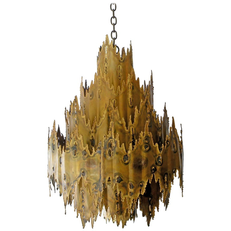Striking Tom Greene Brutalist Torch Cut Chandelier Feldman Lighting 1