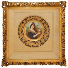 French Hand-Painted Portrait Plate Harpist Jules Etienne Rue De Paradis, France