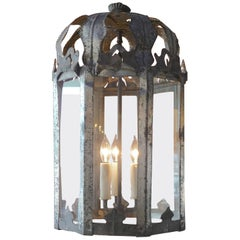 French 19th Century Iron and Glass Eight-Sided Three-Light Lantern