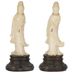 Pair of Quan Yin Figures Mounted as Lamps