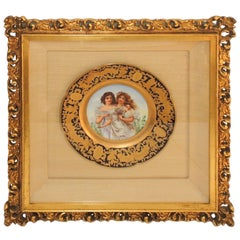French Hand-Painted Portrait Plate Two Maidens Jules Etienne Rue De Paradis