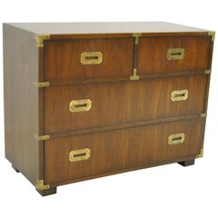 Campaign Style Four-Drawer Chest in Dark Walnut by Lane Furniture